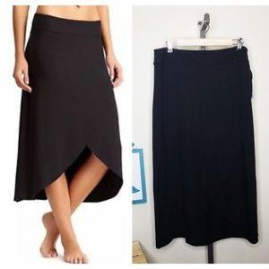 Athleta Black Ribbon Faux Wrap Midi Skirt NWT